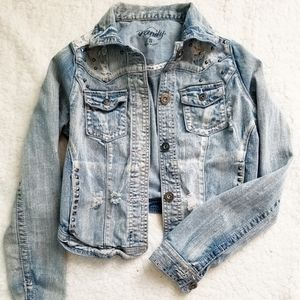 Vanity size small distressed jean jacket